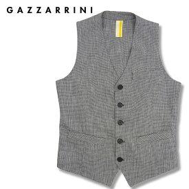 【30%OFF】GAZZARRINI (ガッザリーニ) 格子柄 コットン ジレ [メンズ] GLE149G【GRY/46・48・50サイズ】グレー ベスト 千鳥格子 リネン混 イタリア製【あす楽】