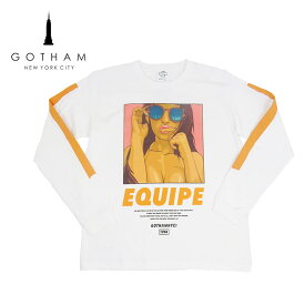 【20%OFF】GOTHAM NYC(ゴッサム) EQUIPE-LTS [メンズ] GN-525【WHT/M・L・XLサイズ】ホワイト 長袖 イラスト Tシャツ【ネコポス対応】【店頭受取対応商品】【あす楽】