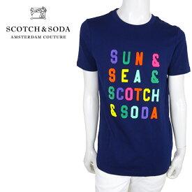 【ポイント5倍】【30%OFF】【ネコポス対応】SCOTCH&SODA (スコッチ&ソーダ) ショートスリーブTシャツ [メンズ] 292-74446 Multicolour Text T-Shirt【NVY/S・Mサイズ】 149039 ネイビー 半袖 クルーネック oceans safari 掲載ブランド【店頭受取対応商品】【あす楽】