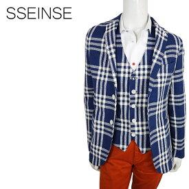 【ポイント5倍】【50%OFF】SSEINSE (センス) シングルジャケット [メンズ] GAE468SS【NVY/46・48・50・54サイズ】ネイビー テーラードジャケット チェックジャケット リネン イタリア製【店頭受取対応商品】