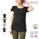 大きいサイズ レディース トップス Tシャツ 半袖 コットンフライス Uネック 無地 ベーシック cotton100 LL 3L 4L