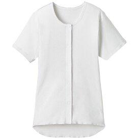 【送料無料】【法人(会社・企業)様限定】オオサキメディカル プラスハート ワンタッチ肌着 前開き 半袖 婦人用 L ホワイト 1枚