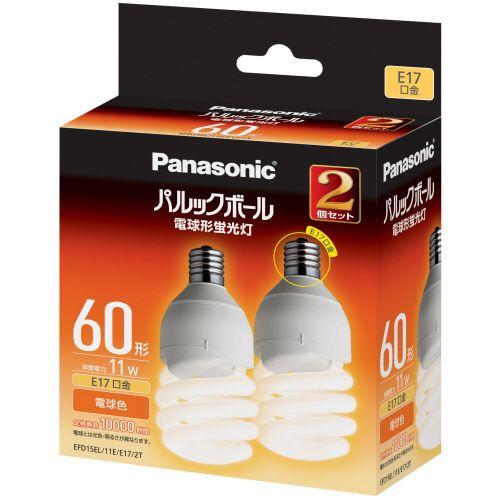 パナソニック パルックボール D形 60W形 E17 電球色 1パック(2個)