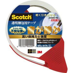 3M スコッチ 透明梱包用テープ(音が静か/軽く引き出せる) カッター付 1巻