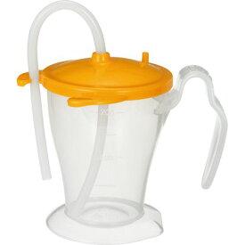 【ポイント最大13倍★8/25】オオサキメディカル プラスハート ベッド柵にも掛けられる ストローカップ オレンジ 250ml 1個