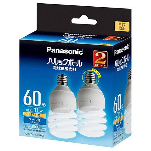 パナソニック パルックボール D形 60W形 E17 昼光色 1パック(2個)