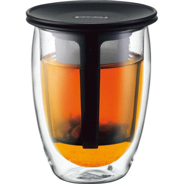 【送料無料】ボダム ティーフィルター付きダブルウォールグラス ブラック K11153‐01【代引不可】【ギフト館】