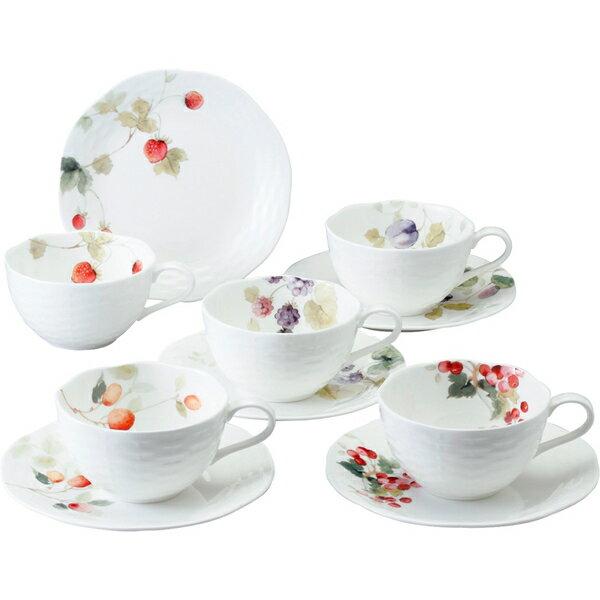 【送料無料】ナルミ ルーシーガーデン 5客アソートティー・コーヒー碗皿 96010−23067P【代引不可】【ギフト館】