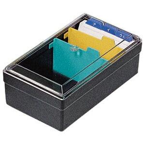 ライオン事務器 名刺整理箱 W102×D180×H70mm 500枚収容 黒 1個