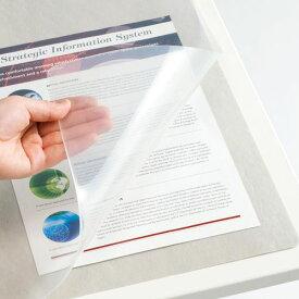 【ポイント最大21倍★6/5 6/10 6/25】TANOSEE 再生透明オレフィンデスクマット ダブル(下敷付) 600×450mm グレー 1セット(5枚)