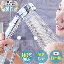 日本製 シャワーヘッド 節水 塩素除去 浄水 増圧 止水ボタン 手元スイッチ 角度調整 アダプター付 国際基準G1/2 2年間…