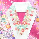 刺繍半襟刺繍半衿【白×ピンク・水色ウロコに松竹梅13463】日本製シルエリーはんえり振袖袴成人式