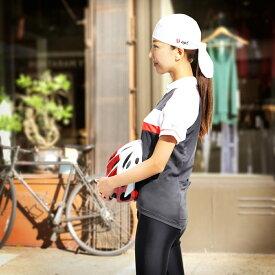 apt'サイクリングバンダナ ブラック ホワイト 男女兼用 フリーサイズ スポーツ用 巻き方 メンズ レディース