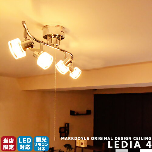 シーリングライト 4灯 スポットライト 照明 おしゃれ LED対応 スポットライト 天井照明 スポット照明 リビング用 ダイニング用 [LEDIA 4:レディア 4] 6畳用 8畳用 プルスイッチ シーリングライト led 6畳 8畳 西海岸 段調光 照明器具 モノトーン (2-2