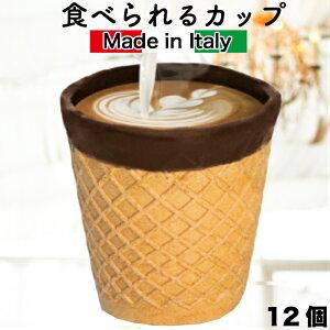 イタリア製 コーンカップ 1箱12個 コーンショット ワッフルコーン 食べられるカップ コップ CHOCUP チョカップ チョコレート エコショット エコ チョコレートコーティング ドリンク ソフトク