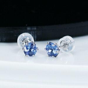 タンザナイトシンプル ピアス ラウンド計1カラット プラチナ 12月誕生石ティファニー命名の稀少宝石「タンザナイト