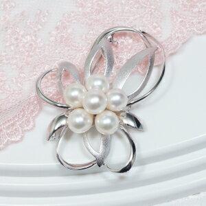 【フォーマルに、またドレスアップの必須アイテム「真珠ブローチ」!モダンなデザインで新登場!】シルバーあこや真珠デザインブローチ【KGMN-0005】
