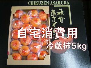 【自宅消費用 青秀】あさくらの冷蔵富有柿 5kg箱(L・2Lサイズ・20〜18玉入)