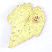 【M.Yamada】【ダイヤモンド】ブローチカエル&リーフモチーフK18YGK18PGダイヤモンド0.10ct【中古】