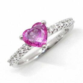 ポンテヴェキオ リング ハートモチーフ K18WG ピンクサファイア 0.94ct ダイヤモンド 0.15ct 9号【中古】