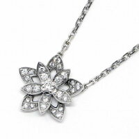 ヴァンクリーフ&アーペルネックレスロータスミニK18WGダイヤモンド【中古】