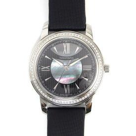 【限界価格に挑戦!!さらにお得なクーポン配布中】 ティファニー 腕時計 マーク Z0046.17.10B90A40A 黒文字盤 ダイヤベゼル ブラックシェル ステンレススチール サテンレザー【中古】