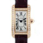 カルティエ Cartier 腕時計 ミニタンクアメリカン WB710014 ダイヤベゼル シルバーギョーシェ ローマン 文字盤 K18PG ワインレッド アリゲーターレザーベルト クォーツ 【箱・保付き】 【中古】