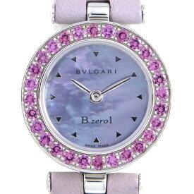 ブルガリ BVLGARI 腕時計 B-zero1 ビーゼロワン BZ22S ピンクガーネットベゼル ピンクシェル文字盤 ピンク ガーネット SS パープル レザー クォーツ 【中古】