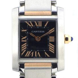 カルティエ Cartier 腕時計 タンクフランセーズ SM W5010001 ローマ数字 2009年 クリスマス X'mas アジア限定モデル ブラック 黒 文字盤 K18PG SS クオーツアナログ 【中古】