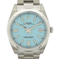 ロレックスRolex腕時計オイスターパーペチュアル124300ターコイズトルコ石ブルー文字盤ルーレット刻印ブルー文字盤SS自動巻き【箱・保付き】【中古】