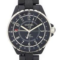 シャネルCHANEL腕時計J12GMTH3101カレンダーブラック黒文字盤SSマットブラックセラミック自動巻き【中古】