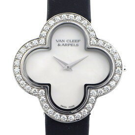 ヴァンクリーフ&アーペル Van Cleef & Arpels 腕時計 ヴィンテージアルハンブラ ミディアムウォッチ VCARF52700 ホワイト 白 文字盤 ダイヤモンド 0.75ct ホワイトシェル 白 K18WG ブラック 黒 革 クオーツアナログ 【中古】