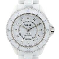シャネルCHANEL腕時計J12H570512ポイントダイヤインデックス裏スケカレンダーホワイト白文字盤ダイヤモンドホワイトセラミック白自動巻き【箱・保付き】【中古】