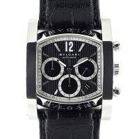 ブルガリBVLGARI腕時計アショーマクロノAA48SCHカレンダークロノグラフブラック黒文字盤SSブラック黒革自動巻き【箱・保付き】【中古】