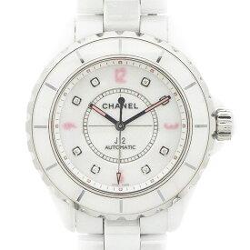 シャネル CHANEL 腕時計 J12 H4864 8ポイント ダイヤ / ピンクインデックス 世界限定 1200本モデル ホワイト 白 文字盤 ダイヤモンド ホワイトセラミック 自動巻き 【中古】