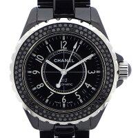 シャネルCHANEL腕時計J12H0942ブラックダイヤベゼルカレンダーブラック黒文字盤ブラック黒ダイヤモンドブラックセラミック黒自動巻き【中古】