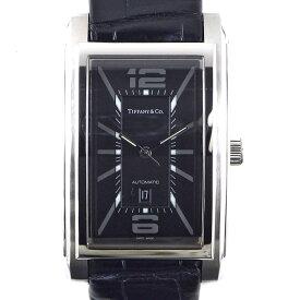ティファニー Tiffany & Co. 腕時計 グランド Z0031.68.10A10A70A カレンダー ブラック 黒 文字盤 SS ブラック 黒 クロコダイルレザーベルト 自動巻き 【中古】