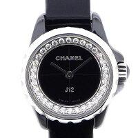 シャネルCHANEL腕時計J12XSH466332ポイントダイヤベゼルブラック黒文字盤ダイヤモンド0.27ctSSブラックセラミック黒ブラック黒レザーベルトクオーツアナログ【中古】