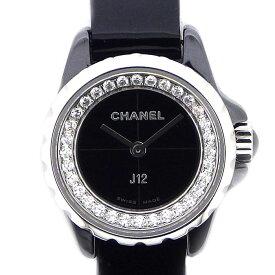 シャネル CHANEL 腕時計 J12 XS H4663 32 ポイントダイヤベゼル ブラック 黒 文字盤 ダイヤモンド 0.27ct SS ブラックセラミック ブラック レザーベルト クオーツアナログ 【中古】