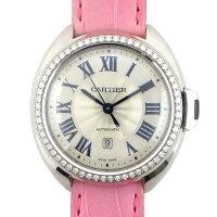 カルティエCartier腕時計クレドゥWJCL0014カレンダーシルバーギョーシェ文字盤ダイヤモンドK18WGピンククロコダイルレザーベルト自動巻き【中古】