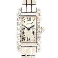 カルティエCartier腕時計タンクアロンジェラニエールWJ2003W3ダイヤベゼルシルバー文字盤K18WGクオーツアナログ【中古】