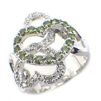 ポンテヴェキオPonteVecchioリングハートトリートメントグリーンダイヤモンド0.39ctダイヤモンド0.38ctK18WG9.5号【中古】