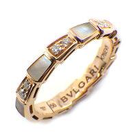 ブルガリBVLGARIリングセルペンティヴァイパースネークダイヤモンド0.24ctホワイトシェル白K18PG15号/#56【中古】