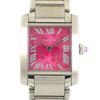 カルティエCartier腕時計タンクフランセーズSMW51030Q3ラズベリー文字盤2006年クリスマスX'mas限定モデルピンク文字盤SSクオーツアナログ【中古】
