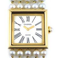 シャネルCHANEL腕時計マドモアゼルH0007パールベルトM刻印ホワイト白文字盤K18YGクオーツアナログ【中古】