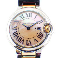 カルティエCartier腕時計バロンブルーW6920034ピンクシェル文字盤SSK18PGクオーツアナログ【箱・保付き】【中古】