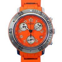 エルメスHERMES腕時計クリッパーダイバーCL2.316カレンダークロノグラフスモールセコンドオレンジ文字盤SSオレンジラバークオーツアナログ【中古】