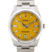 ロレックスRolex腕時計オイスターパーペチュアル124300イエロー文字盤ルーレット刻印SS自動巻き【箱・保付き】【中古】