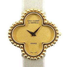 ヴァンクリーフ&アーペル Van Cleef & Arpels 腕時計 アルハンブラ 122974 シャンパンゴールド文字盤 K18YG ベージュ 革 クオーツアナログ 【中古】