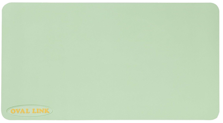 【オーバルリンク】Lサイズ(38cmx70cm)ライトグリーン お風呂の滑り止めマット 1枚 抗菌防カビ加工